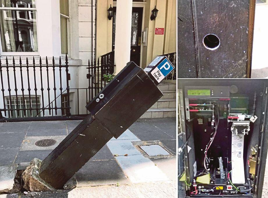 GAMBAR kiri, sebuah meter parkir  yang dirosakkan penjenayah, gambar kanan, penjenayah memecahkan meter parkir untuk mendapatkan duit syiling. FOTO Agensi