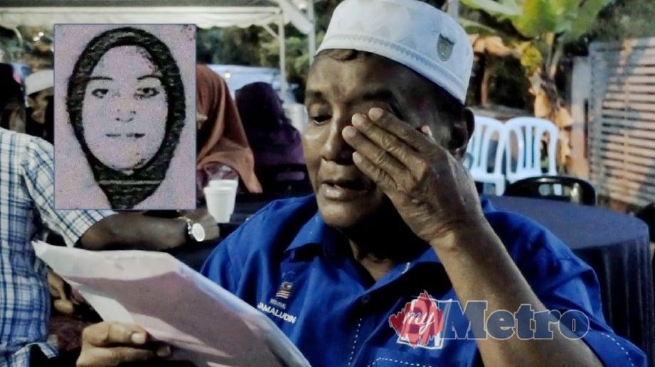 JAMALUDDIN Malek, 66 sebak melihat wajah anaknya di salinan fotostat kad pengenalan selepas ditahan pihak berkuasa Nepal kerana menjadi keldai dadah. Gambar kecil, Marina Jamaluddin. FOTO Khairul Najib Asarulah Khan