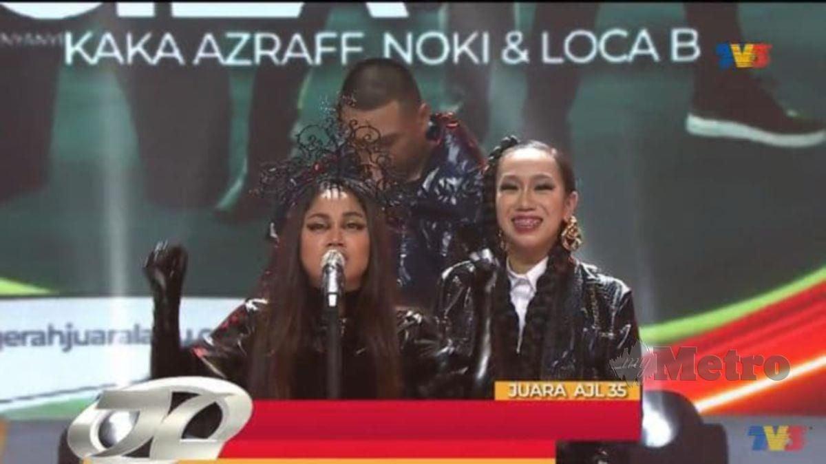 Kaka Azraff, Noki dan Loca B menjuarai Anugerah Juara Lagu 35 menerusi lagu Gila.