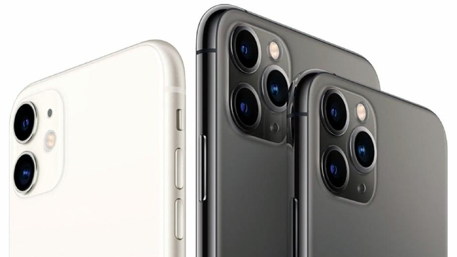 IPHONE 11 Pro dan versi iPhone 11 Pro Max menampilkan tetapan tiga lensa dengan rekaan kedudukan sisi segi tiga.
