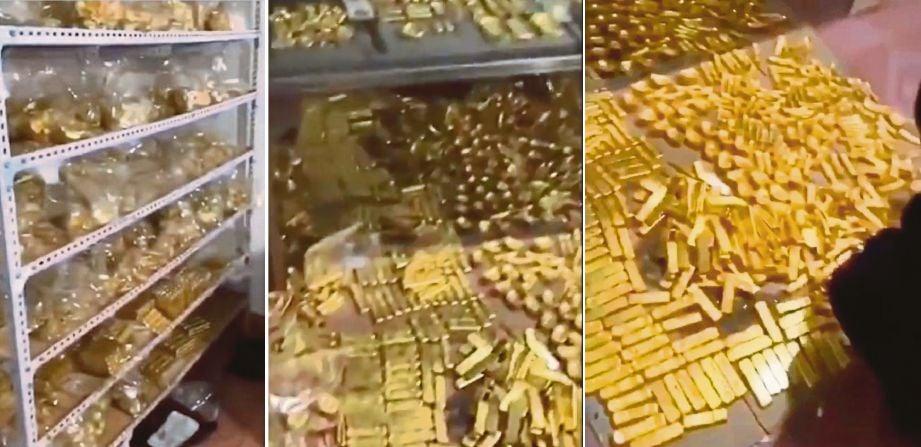 RIBUAN jongkong emas yang ditemui di rumah Zhang. FOTO Agensi