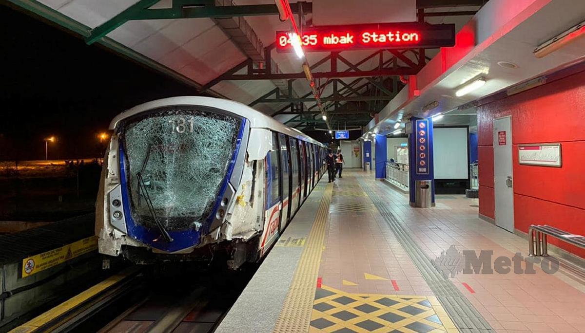 KUALA LUMPUR 27 MEI 2021. TREN LRT yang terbabit dalam kemalangan itu. FOTO Ihsan Datuk Seri Dr Wee Ka Siong