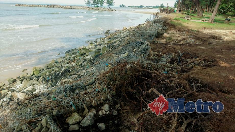 PANTAI Tanjung Lobang, mengalami hakisan yang serius sejak kebelakangan ini. FOTO Kandau Sidi