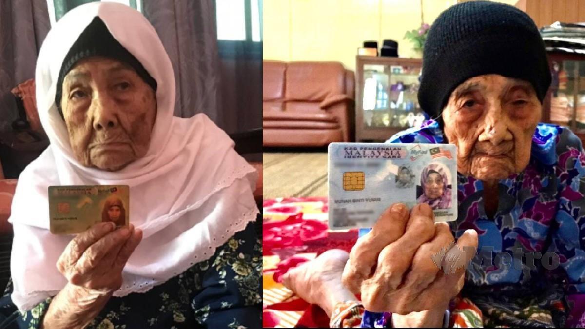 Munah Yunus dan adiknya Pah Yunus masing-masing menunjukkan kad pengenalan mereka. FOTO HAZIRA AHMAD ZAIDI