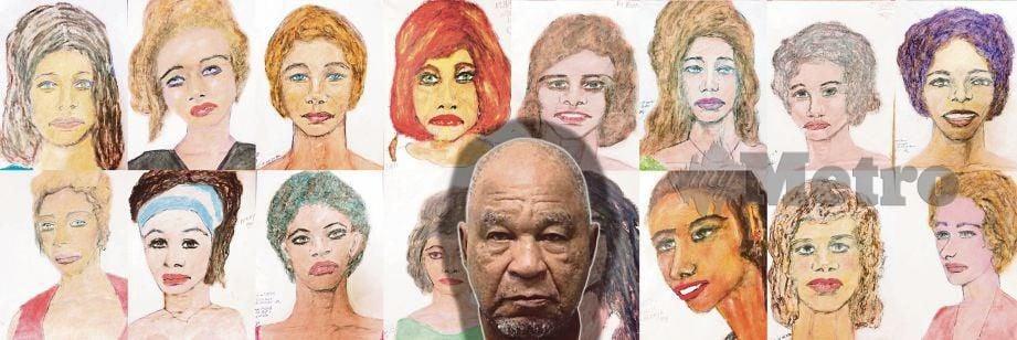 SEBAHAGIAN 30 lakaran wajah mangsa yang dibunuh Samuel (gambar tengah). - Fail FBI