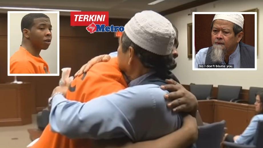 ABDUL Munim (kanan) memaafkan Relford berhubung pembunuhan anaknya. FOTO petikan video YouTube LEX18News