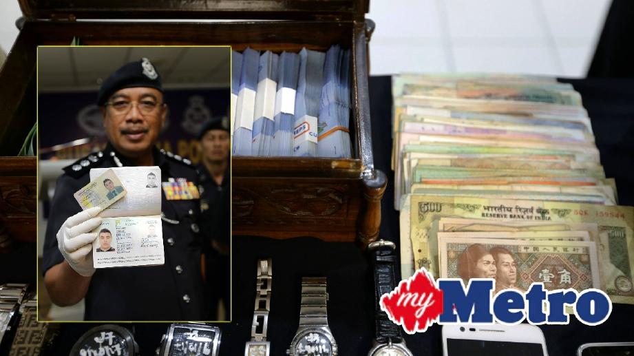 ANTARA barang yang berjaya dirampas dalam kes pecah rumah. Gambar kecil, Ketua Polis Daerah Shah Alam Asisten Komisioner Shafien Mamat menunjukkan passport palsu dan kad identiti warganegara Columbia yang dicari oleh pihak polis. FOTO Roslin Mat Tahir