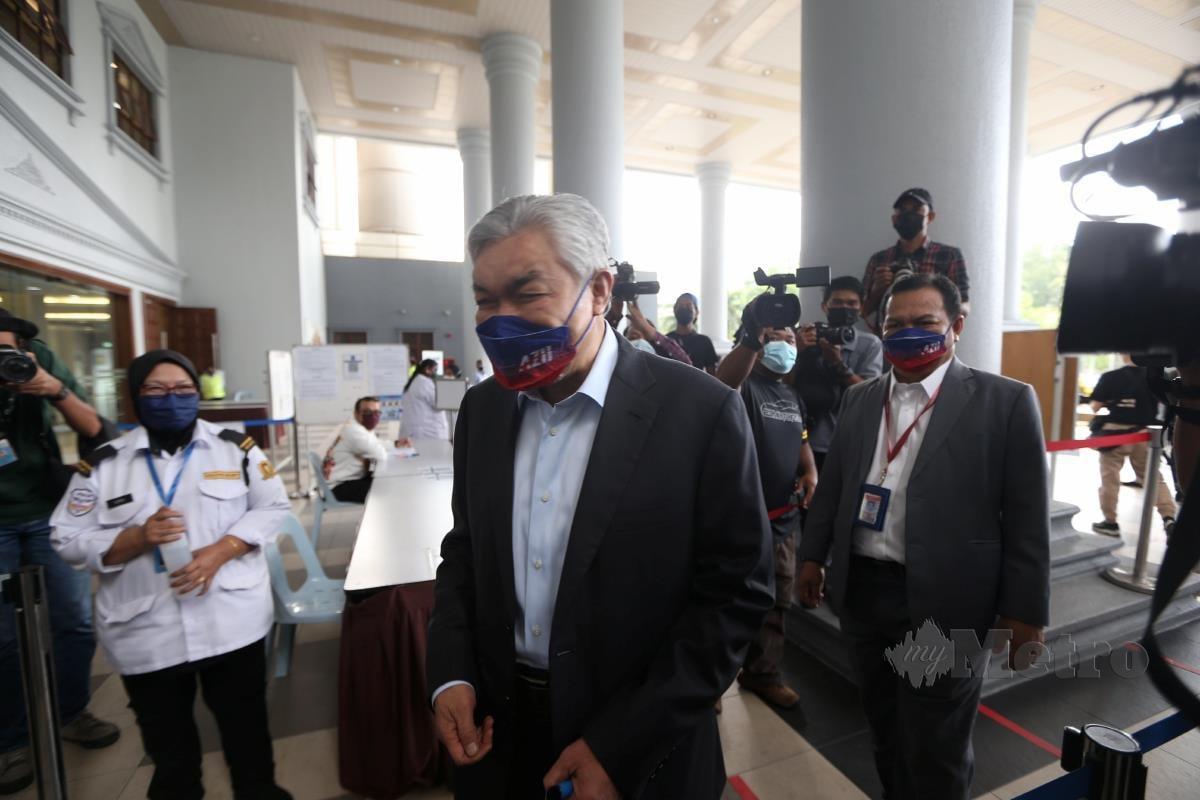 Bekas Timbalan Perdana Menteri, Datuk  Seri Dr Ahmad Zahid Hamidi, hadir bagi hujahan akhir pendakwaan kes rasuah membabitkan Yayasan Akalbudi di Kompleks Mahkamah Kuala Lumpur. FOTO MOHAMAD SHAHRIL BADRI SAALI