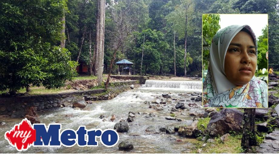 KAWASAN air terjun Kampung Buku Lubuk Semilang, Langkawi yang meragut empat nyawa kanak-kanak dalam tragedi 'kepala air', Khamis lalu. Gambar kecil, SITI HAJAR, ibu kepada arwah Anis Syatirah Saad. FOTO Hamzah Osman
