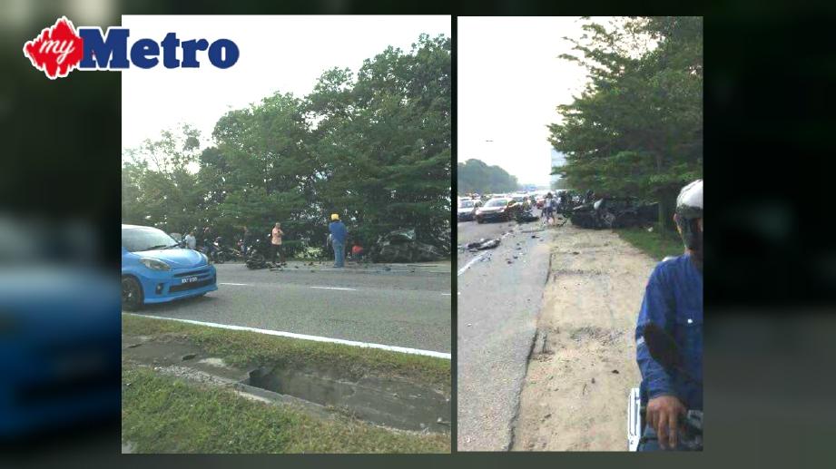 SITUASI trafik di Jalan Pantai selepas kemalangan. FOTO Ihsan Facebook Peon JB