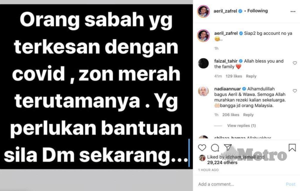 TANGKAP layar Instagram Aeril Zafrel.