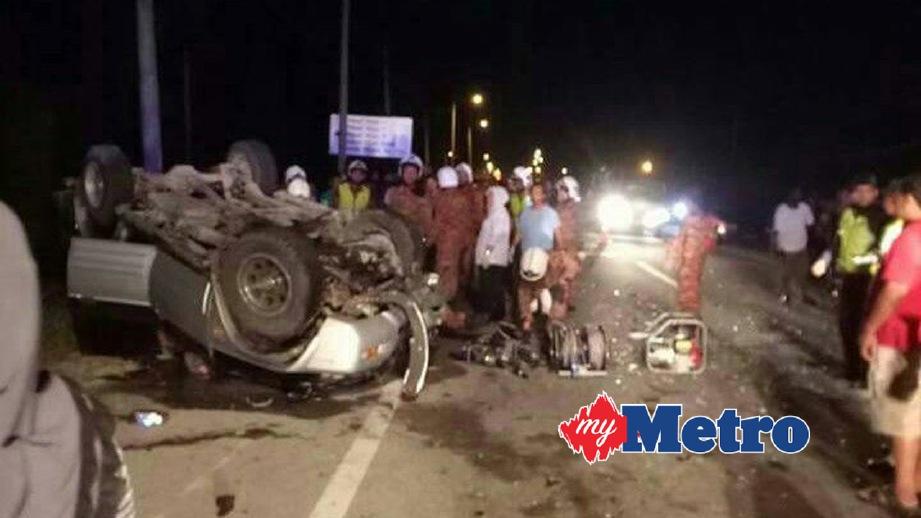 KEADAAN kenderaan yang terlibat dalam kemalangan.