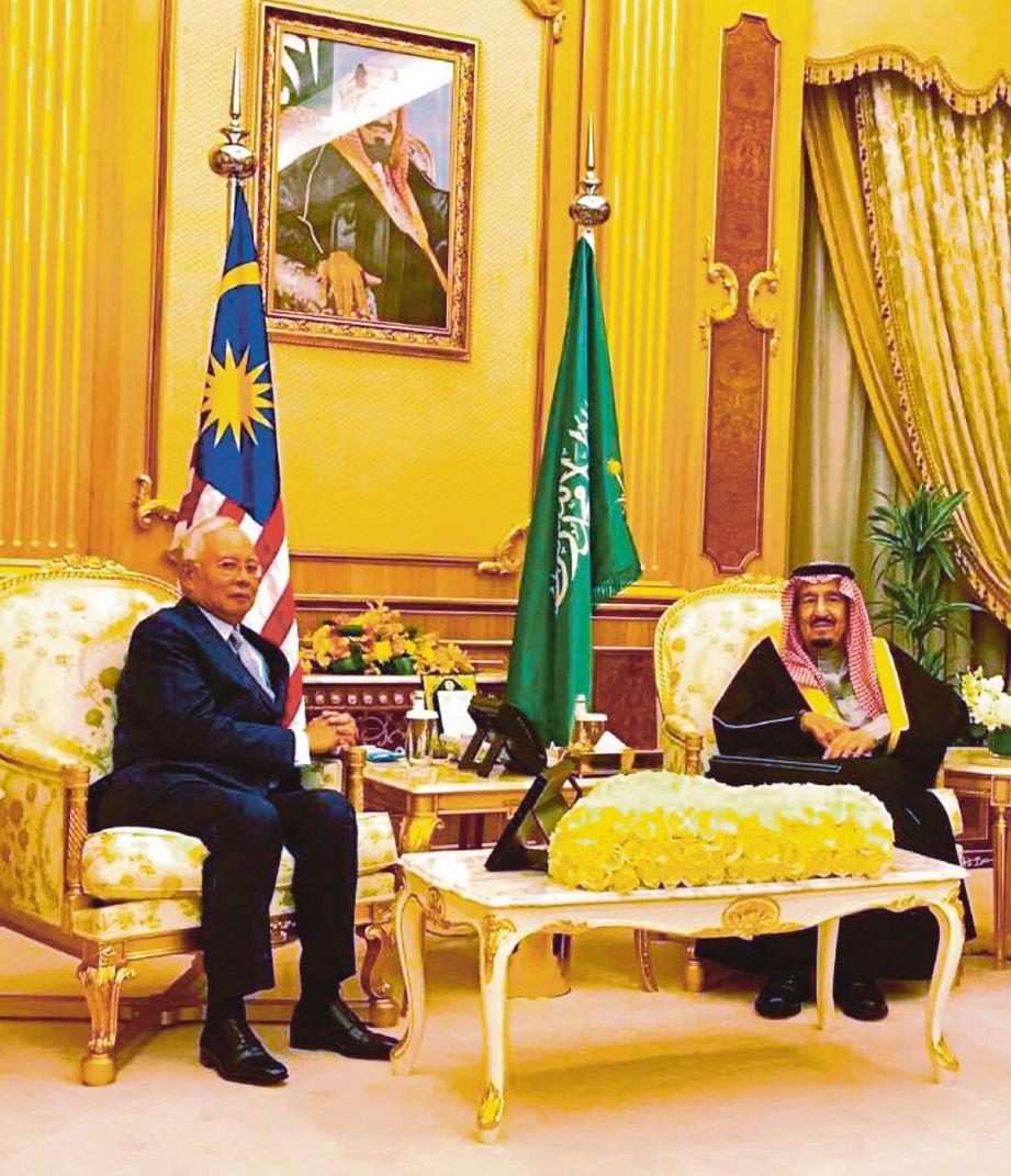 Najib bertemu Raja Salman di Istana  Al-Yamama, Riyadh.