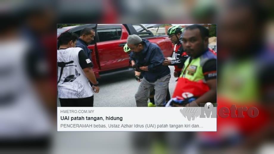 LAPORAN portal berita Harian Metro mengenai kemalangan menimpa UAI, Isnin lalu.