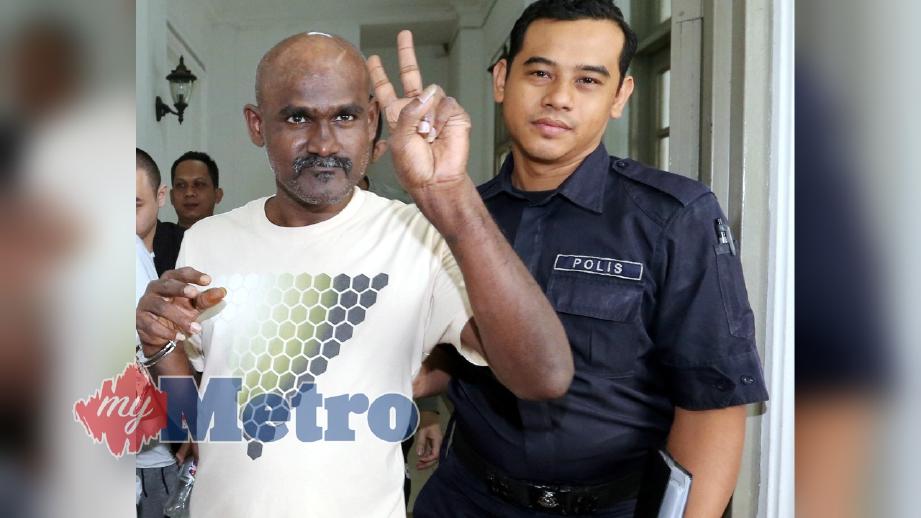 PEKERJA kedai cuci kereta, S Satha Sivam, 44, dijatuhkan hukuman gantung sampai mati oleh Mahkamah Tinggi Johor Bahru selepas didapati bersalah mengedar 99.16 gram methamphetamine, dua tahun lalu. FOTO Zain Ahmed