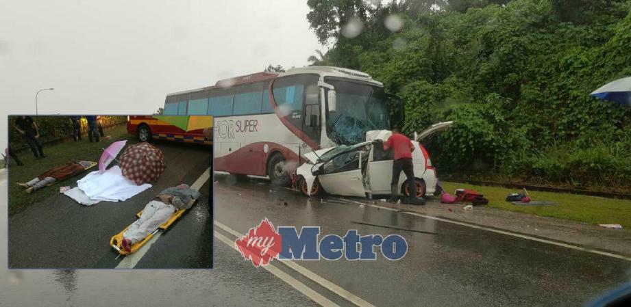 LIMA termasuk seorang bayi lelaki maut dalam kemalangan membabitkan bas ekspres dan PERODUA Viva di Kilometer 178 Persimpangan Melayu Raya, Segamat sebentar tadi. FOTO Ihsan Bomba