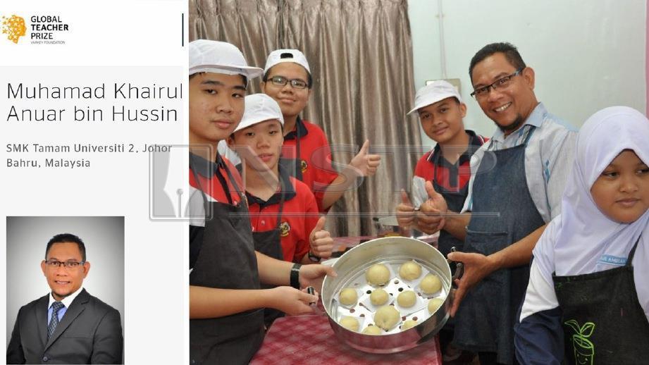 MUHAMAD Khairul yang tersenrai dalam kelompok 50 finalis Hadiah Guru Global 2019 bersama  murid yang menyertai program Kemahiran Asas Masakan Bakeri dan Pastri. FOTO ihsan Muhamad Khairul Anuar Hussin