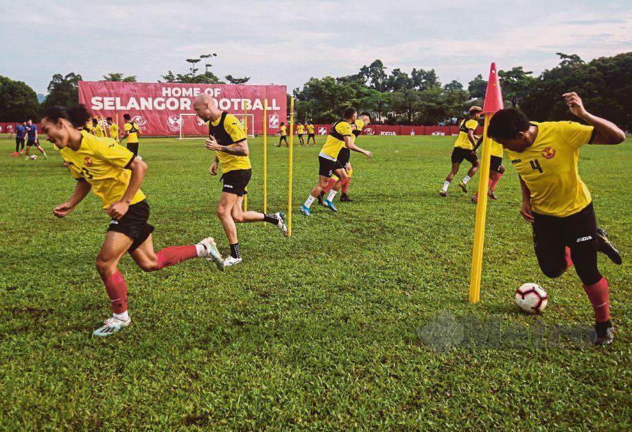 Pasukan Selangor ketika menjalani sesi latihan. FOTO File NSTP