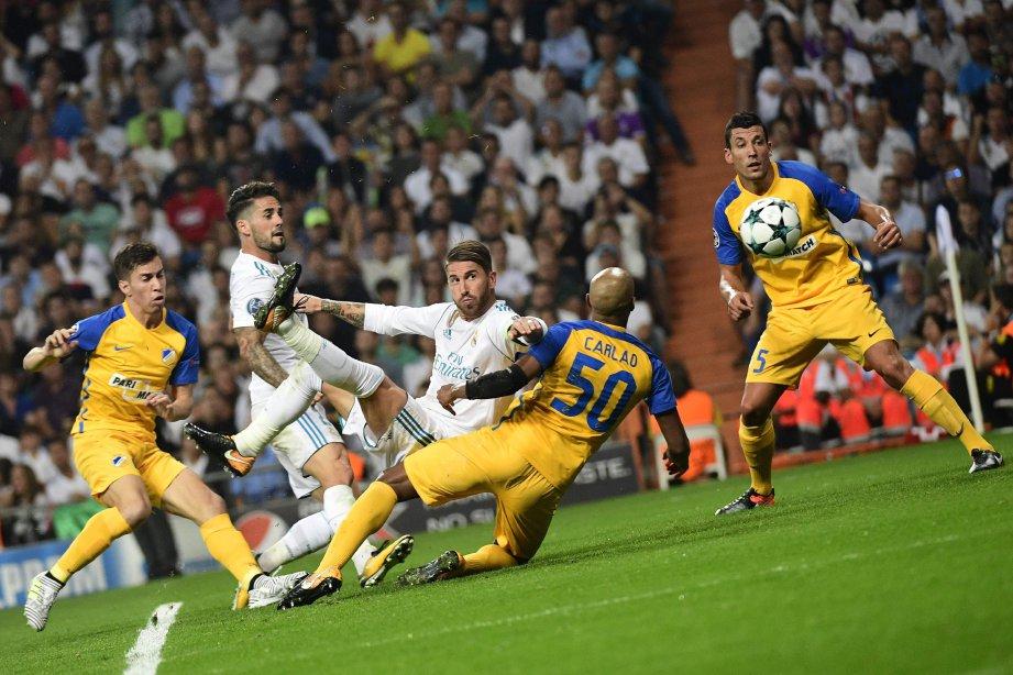 GOL ketiga Ramos lengkapkan kemenangan Real. FOTO/AFP