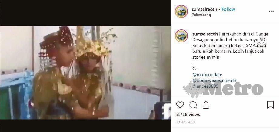 VIDEO perkahwinan pasangan remaja itu tular di media sosial Indonesia. - Agensi