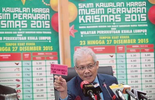 HAMZAH pada sidang media mengenai Pengumuman Skim Kawalan Harga Musim Perayaan Krismas 2015.