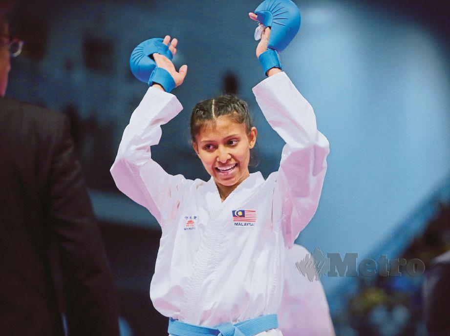 Aksi atlet karate negara, Syakilla Salni. FOTO NSTP.