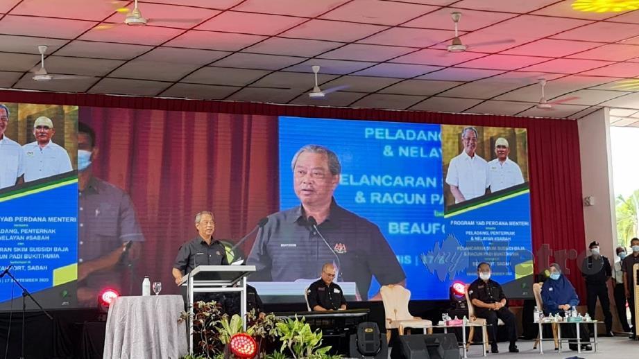 MUHYIDDIN pada Majlis Bersama Peladang, Penternak dan Nelayan Sabah. FOTO Sarah Abdullah