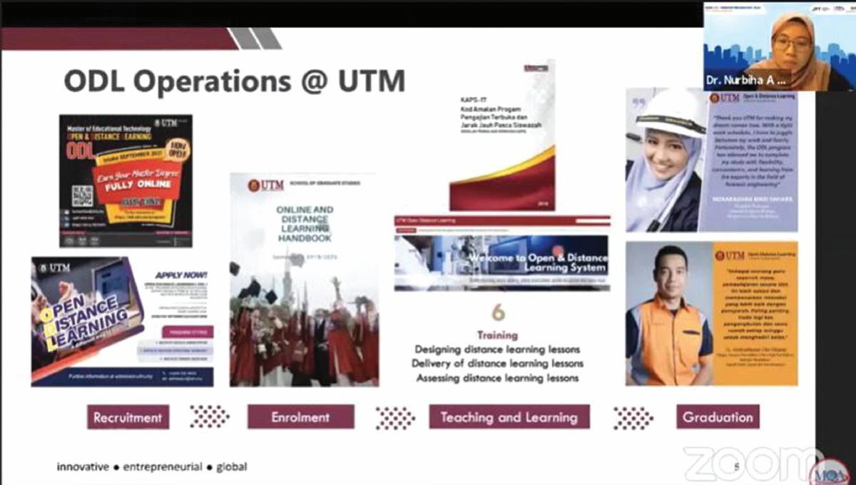 DR Nurbiha menerangkan mengenai operasi ODL di Universiti Teknologi Malaysia.