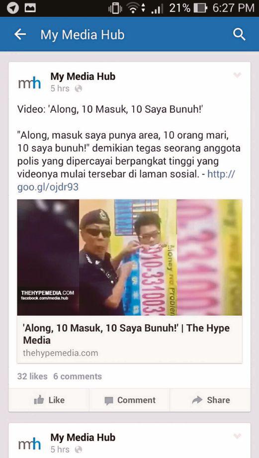 RAKAMAN video amaran tegas Ketua Polis Balai Menglembu terhadap kumpulan along yang menjadi viral.