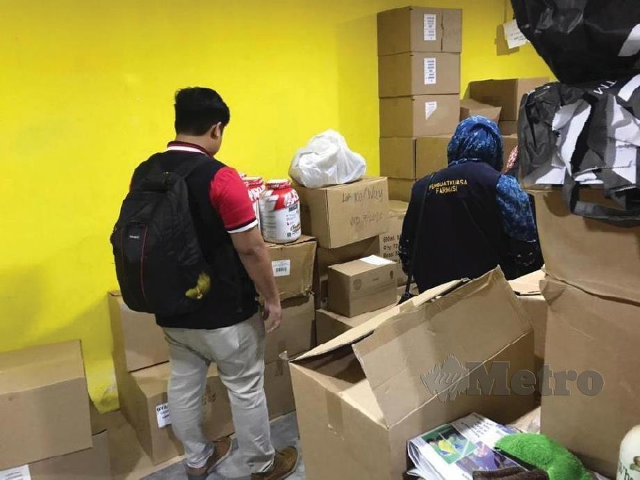 ANTARA produk kesihatan tidak berdaftar termasuk steroid anabolik yang dirampas Bahagian Penguatkuasaan Farmasi KKM dan CPF Jabatan Kesihatan Negeri Melaka, semalam.