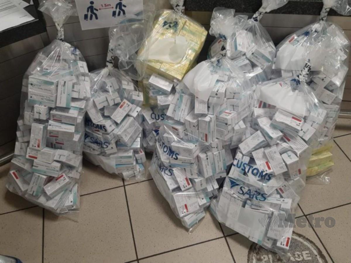 ANTARA pil Ivermectin yang dirampas Bahagian Penguatkuasa Farmasi (BPF) KKM dalam serbuan dan rampasan di KLIA sebelum ini.