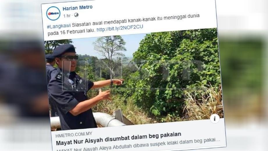 Laporan portal Harian Metro mengenai kes bunuh kanak-kanak berusia tiga tahun di Langkawi.