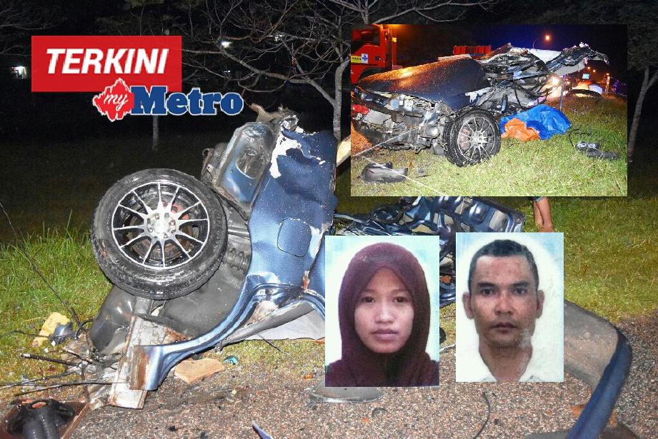 Kemalangan mengorbankan pasangan bakal pengantin di KM 88.9, Jalan Kuala Terengganu-Kuantan, Dungun, 2 pagi tadi. FOTO Rosli Ilham