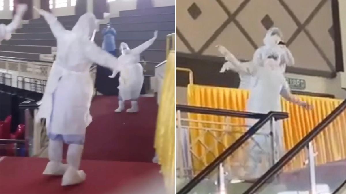 """PETIKAN klip video individu mengenakan PPE, mempersembahkan tarian sumazau diringi lagu """"Original Sabahan"""" yang tular dalam media sosial."""