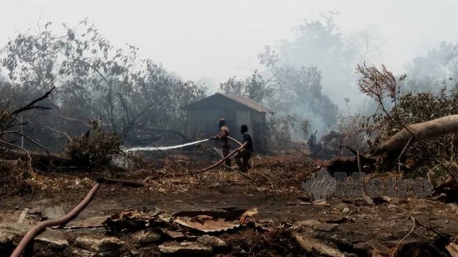 ANGGOTA bomba sudah memadamkan 60 peratus daripada kawasan hutan seluas 16 hektar yang terbakar di Jalan Tanjung Kupang, Kampung Pekajang, Gelang Patah. FOTO ihsan Bomba