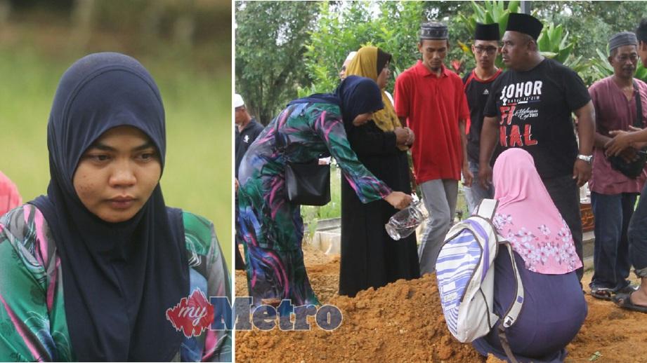 Siti Nurfadhilah (kiri) ketika menghadiri pengkebumian tunangnya, Muhamad Yusmadi di Tanah Perkuburan Islam Kampung Mohd Amin di Simpang Renggam. FOTO Adnan Ibrahim