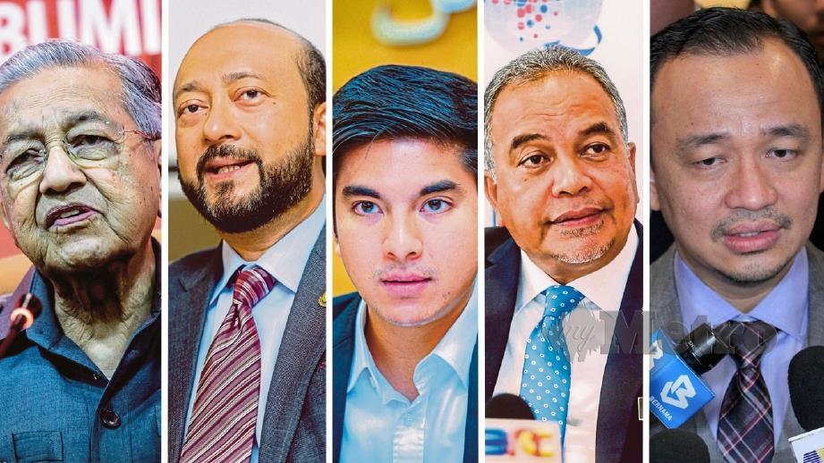 (DARI kiri) Mahathir, Mukhriz, Syed Saddiq, Amiruddin dan Maszlee. FOTO arkib NSTP