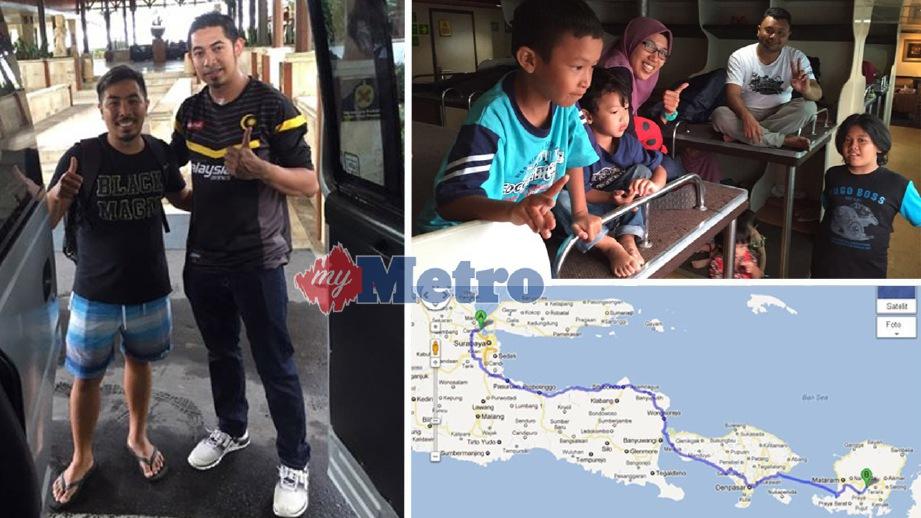 AZIZUL (dua kiri) dan dan keluarganya (gabar kanan, atas) terpaksa menempuh perjalanan 20 jam dari Lombok ke Surabaya untuk pulang ke Malaysia selepas penerbangan mereka dibatalkan akibat letusan Gunung Agung. FOTO ihsan Azizul Hakim