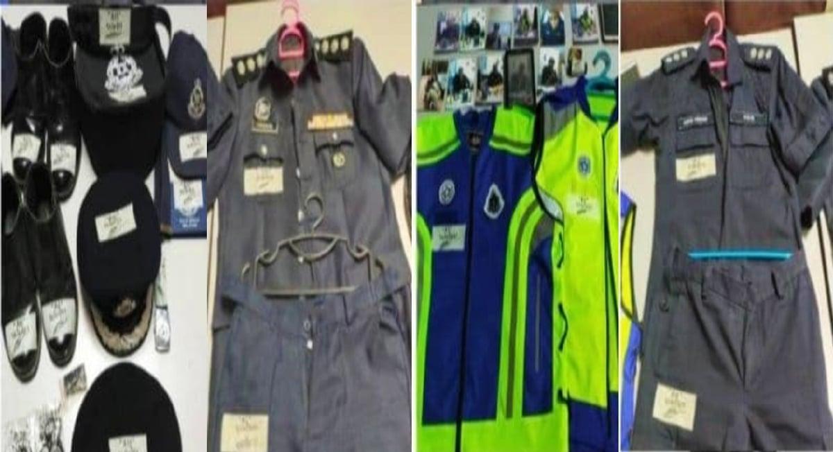 ANTARA seragam dan kelengkapan polis yang dirampas daripada suspek. FOTO Ihsan Polis.