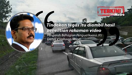 PENGARAH Bahagian Penguatkuasa Jabatan Pengangkutan Jalan Malaysia, Datuk V Valluvan Veloo (gambar kecil) menyatakan sudah mengenalpasti tujuh daripada 91 kenderaan yang menggunakan lorong kecemasan ketika kejadian di Melaka. FOTO Arkib NSTP/Mohd Azren Jamaludin