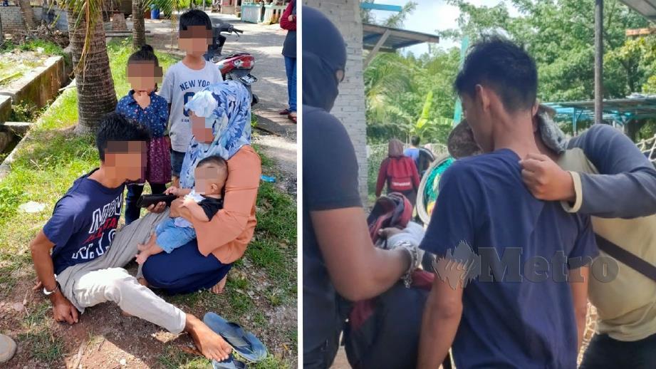 WANITA terkejut suaminya ditahan polis kerana disyaki penagih dadah. FOTO ZULIATY ZULKIFFLI