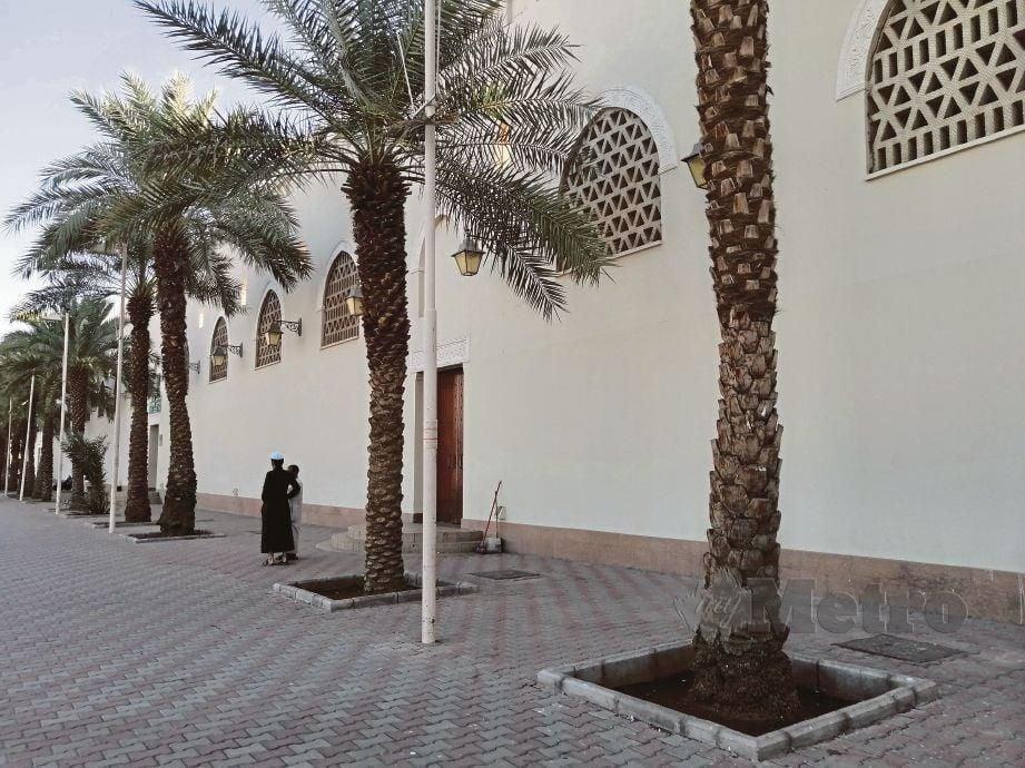 DERETAN pokok kurma menjadi penghias Masjid Bir Ali dan keadaan itu memberi kedamaian kepada jemaah.