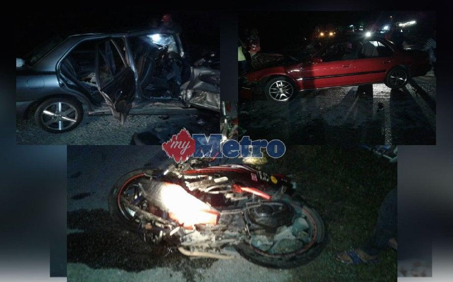 Empat parah, dua cedera dalam kemalangan membabitkan dua kereta dan sebuah motosikal di hadapan Kolej Tuanku Ja'far, Mantin, Nilai, malam semalam. FOTO ihsan bomba