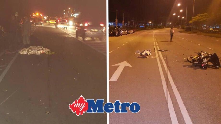 DUA mangsa meninggal dunia di lokasi kejadian dalam kemalangan berasingan. FOTO ihsan Polis
