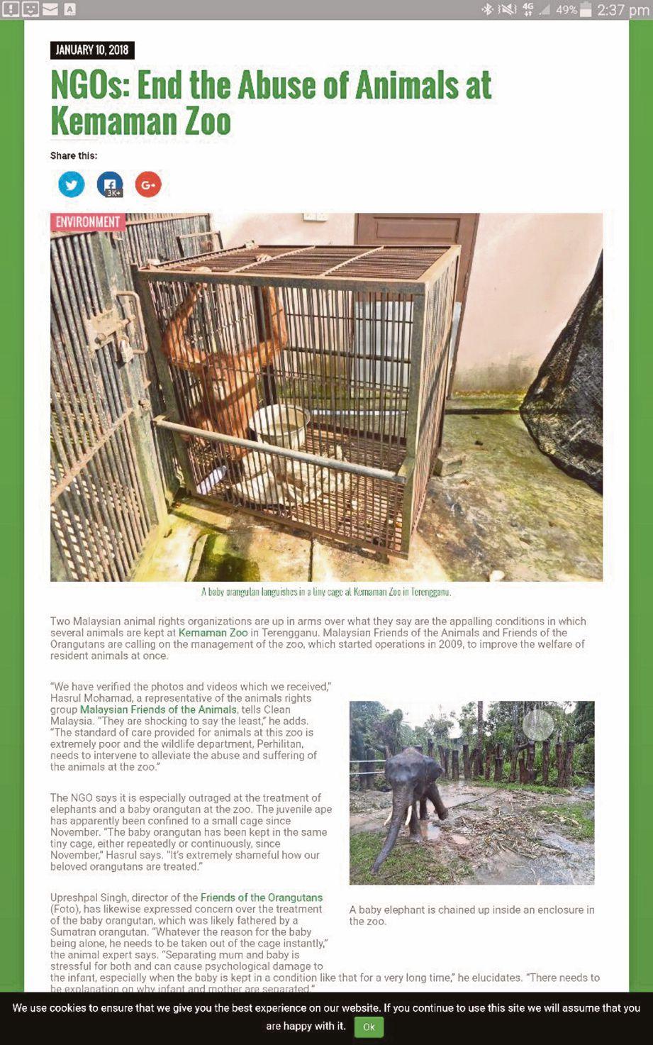 Artikel berhubung haiwan liar didakwa dianiaya di Zoo Kemaman, Terengganu.