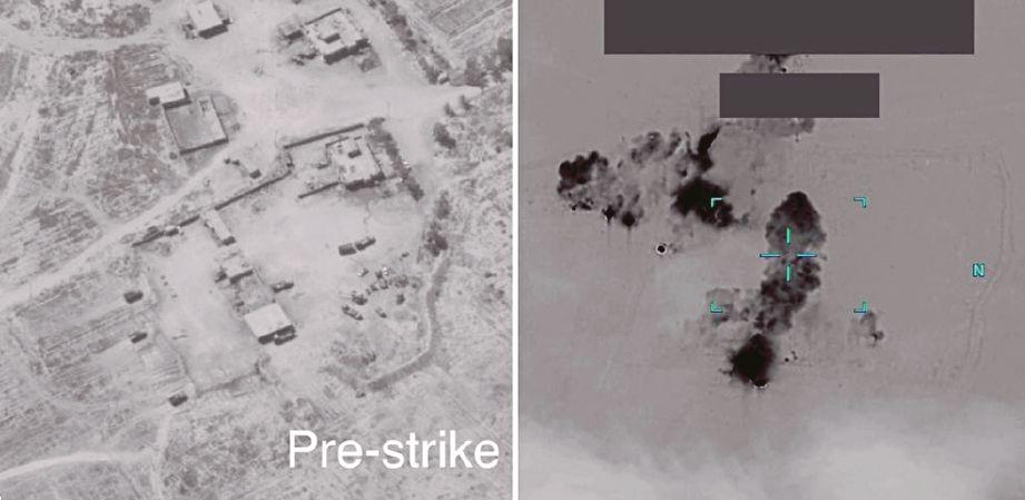 IMEJ dibekalkan Pentagon menunjukkan lokasi markas militia Kataib Hezbollah di  Al-Qa'im, Iraq, yang dibedil tentera Amerika semalam. FOTO  Reuters