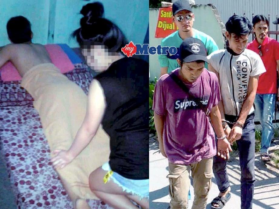 (KIRI) tukang urut ditahan ketika sedang melayan pelanggan manakala (kanan) warga asing ditahan di kilang memproses kelapa. FOTO/FAIL