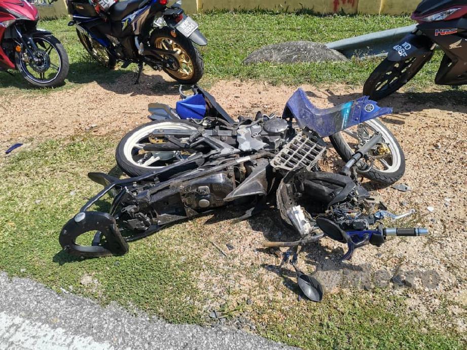KEADAAN motosikal  Allahyarham Mohd Zaini Mahat. Foto ihsan PDRM