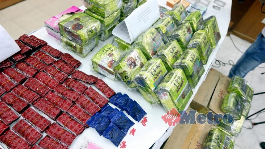 DADAH yang dirampas Jabatan Siasatan Jenayah Narkotik PDRM Bukit Aman dengan kerjasama JSJN PDRM Kelantan di sekitar Kota Bharu dan Pasir Mas. FOTO Zaman Huri Isa