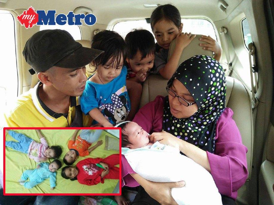 Ahmad Wahide dan Siti Hajar bersama Fathiah dan tiga anak mereka. (Gambar kecil) Fathiah yang kini berusia enam bulan. FOTO ihsan Ahmad Wahide